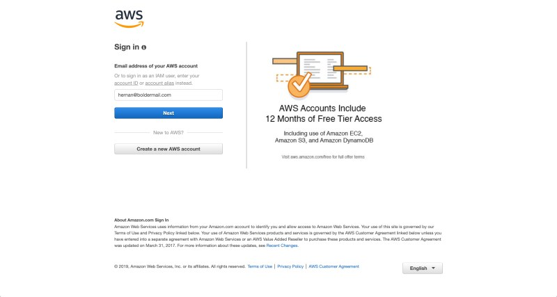Enter the email address you used to create your AWS account | Boldermail