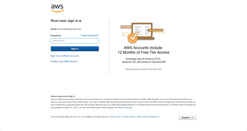 Enter your Amazon Web Services account password | Boldermail