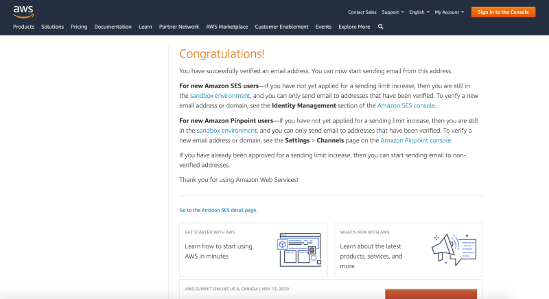 Message displaying success in verifying your email address with Amazon Web Services