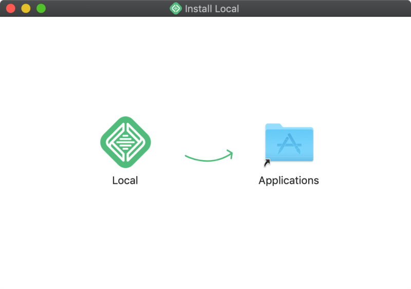 Drag the Local app into the Application directory to install it