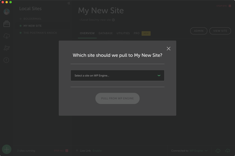 Pull content from or push changes to your live sites