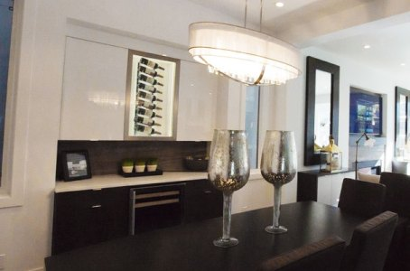 Persian Silver Bolder Stone Panel installed in a built-in dining room sideboard/bar