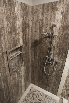 Persian Silver Bolder Panel in a shower