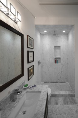 Bianco Carrara Bolder Panel Installed in a shower