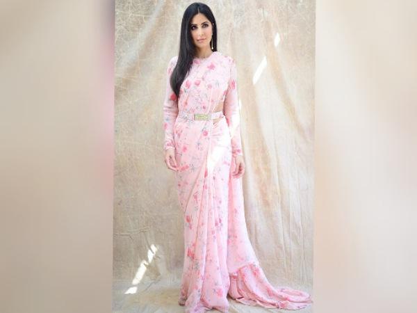 Katrina Kaif In A Pink Floral Belted Saree