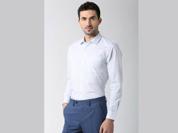 Blue pant combination with Plain White Shirt