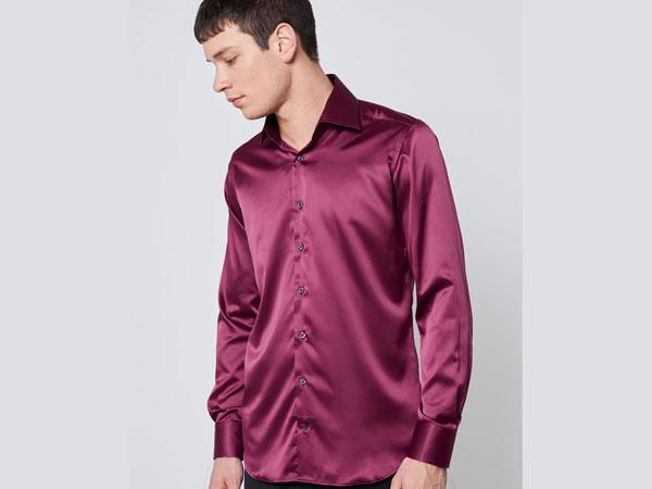 Blue pant combination with burgundy satin shirt