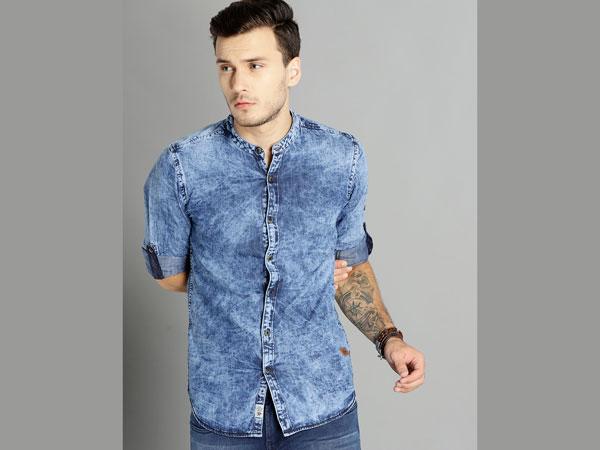 Blue pant combination with denim shirt
