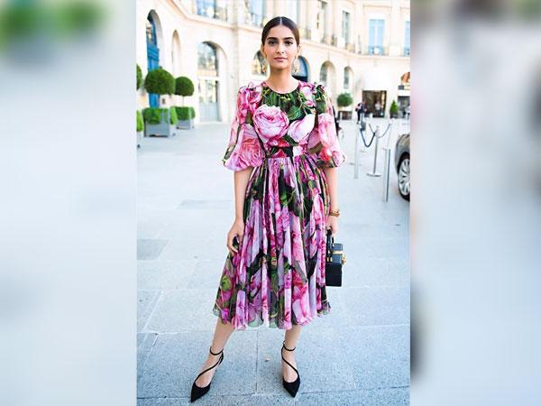 Sonam Kapoor In A Pink Floral Dress