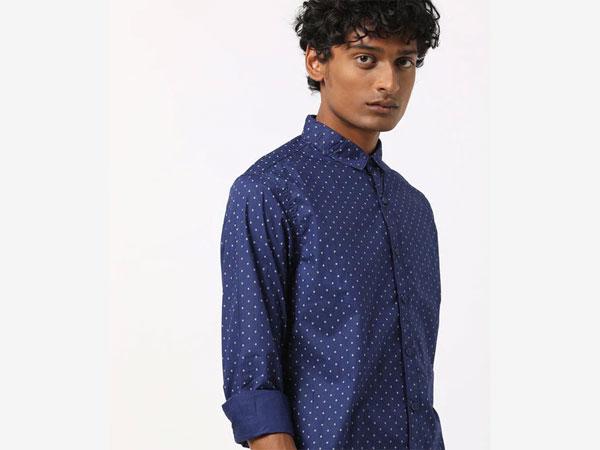 Blue pant combination with pin dot shirt