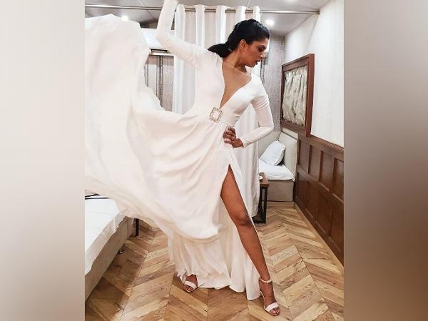 Kavita Kaushik In A White Slit Gown