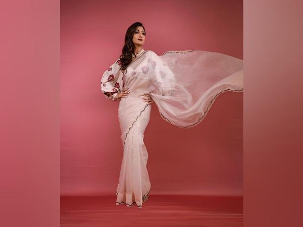 Shilpa Shetty In A White Organza Saree