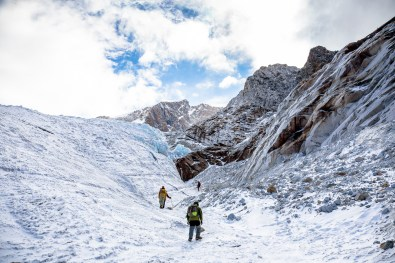 New climbers practicing ice climbing on the Huayna Potosi glacier