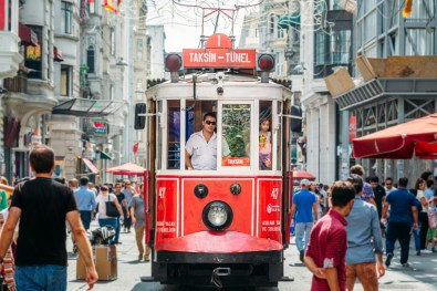 Train conductor on Istiklal Street