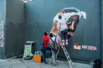 Graffiti artists on Istiklal Street