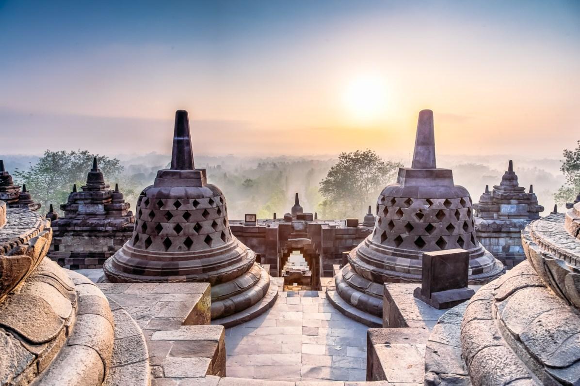 After sunrise over Borobudur temple