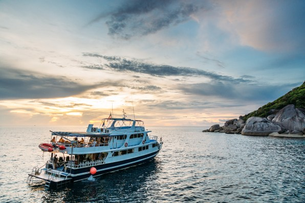 Watching the sunset from the upper deck of our boat in the Similan Islands National Park