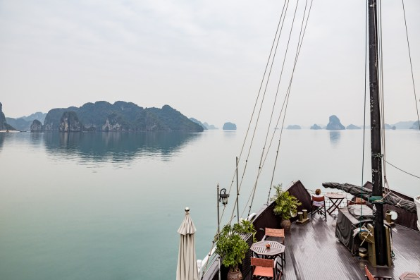 Aboard the Treasure Junk as we sail through Halong Bay and Bai Tu Long Bay