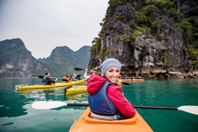 Kayaking trip on day 1 of our Halong Bay cruise aboard the Treasure Junk