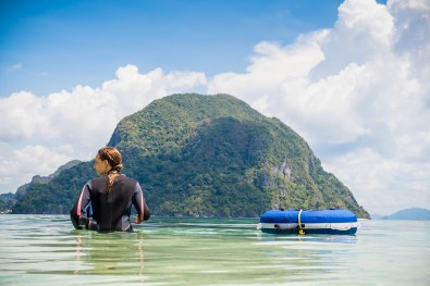 Into the water we go while freediving in the Philippines with Palawan Divers