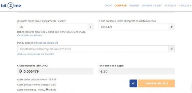 Comprar bitcoin con tarjeta de crédito en Bit2Me