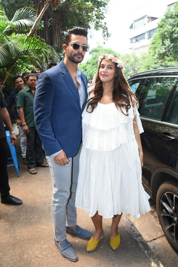 A Glowing Neha Dhupia Sporting A Floral Crown Arrives With Hubby Angad Bedi For Her Baby Shower