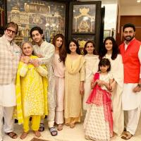 Amitabh Bachchan, Jaya Bachchan, Abhishek Bachchan, Aishwarya Rai Bachchan, Shweta Bachchan Nanda, Naina Bachchan, Aaradhya Bachchan, Navya Naveli Nanda and Agastya Nanda