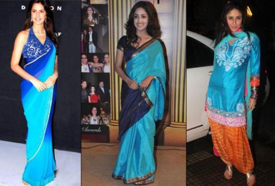 Image result for actresses in scuba blue color saree