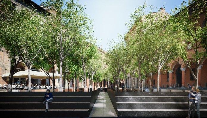 installazione bosco Pollution in piazza Santo Stefano