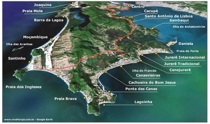Mapa das melhores praias de Florinaópolis
