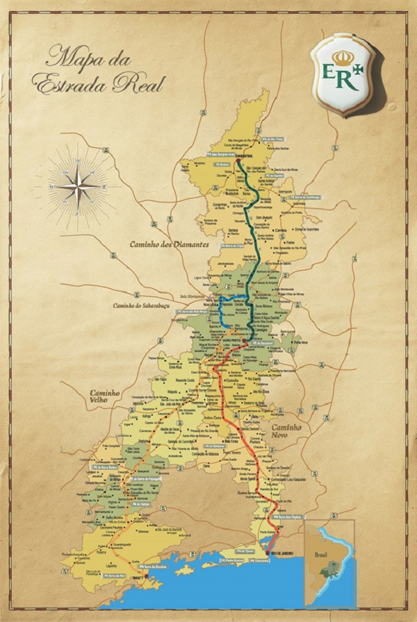 mapa da estrada real