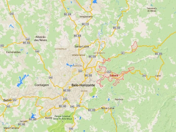 mapa de Sabará