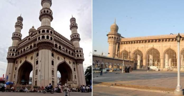 Monumento Charminar e mesquitas antigas em Hyderabad na Índia