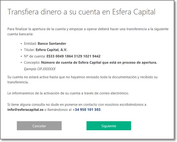 Esfera Capital 12 - Emitir transferencia
