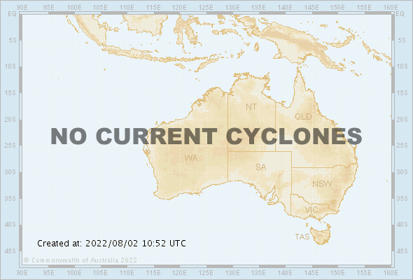 Map of Australian region showing the location of any current active tropical cyclones