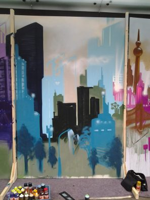 Skyline blue, 200 x 300 cm, 2013, private property