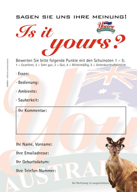 Feedback Card Handout Din A 6, Yours Firer GmbH, 2004