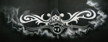 Jack Daniels No. 7 Graffiti Art on a ceiling in the height of 6 m, Karlsruhe 2007. Deckengraffiti in 6 m Höhe für Jack Daniels No. 7, Karlsruhe 2007.
