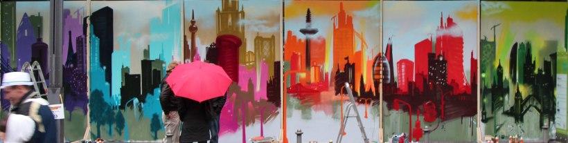 Rainy day. Skyline Artwork auf sechs Leinwandflächen, 2013. Skyline artwork on six canvas surfaces, 2013