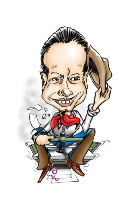 Robert Eisenhardt, Karikatur von Robert Eisenhardt, einem Drucker aus Frankfurt, 2002. Technik: Marker auf Papier, eingefärbt in Photoshop