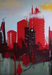 Skyline Artwork auf sechs Leinwandflächen, 2013. Skyline artwork on six canvas surfaces, 2013