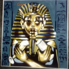Tut Anch Amun with Lager Beer … Binding Lager 1995 200 x 200 cm, spraycan on wood 1995