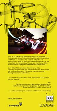 Handout, Flyer, Din Lang Luminale Lightpainting Bomber & Lichtfaktor, Senkenberg Museum Frankfurt, 2014