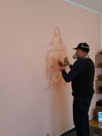 spraying Buddha smiling, Yoga Zentrum Hofheim, 2016