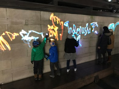 Tryouts Luma Paint Public Light Graffiti as Lightpainting, London Winter Lights, Canary Wharf, 2017