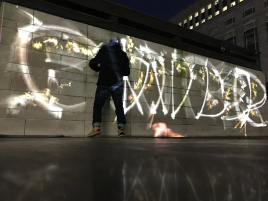 Bomber Throw Up Luma Paint Public Light Graffiti as Lightpainting, London Winter Lights, Canary Wharf, 2017