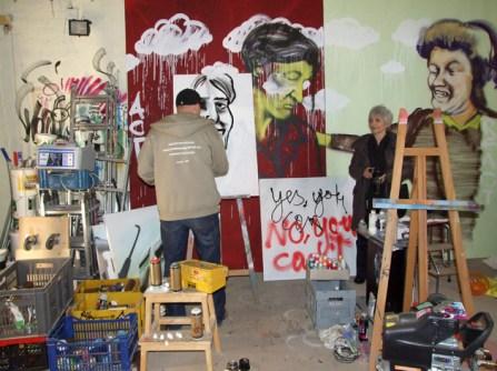 Speed Portrait mit Farbsprühdose von Aliza Olmert, Atelier Bomber, Phrix Okriftel, 2008.