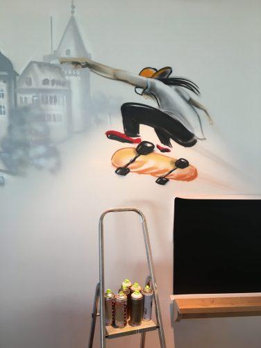Skater mit Baguette/Baguetteskater, Bäcker Lutz Mayen