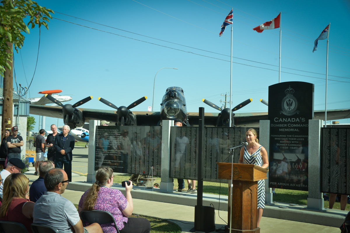 Mayor Jennifer Handley addresses the gathered crowd during the ceremony