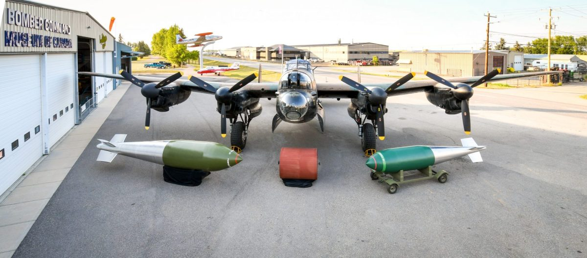 Photo of The Torpex Trio, specialty bombs designed for delivery by the Lancaster bomber